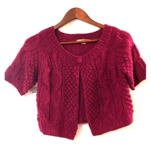 Magenta Cropped Sweater Capelet - Size M